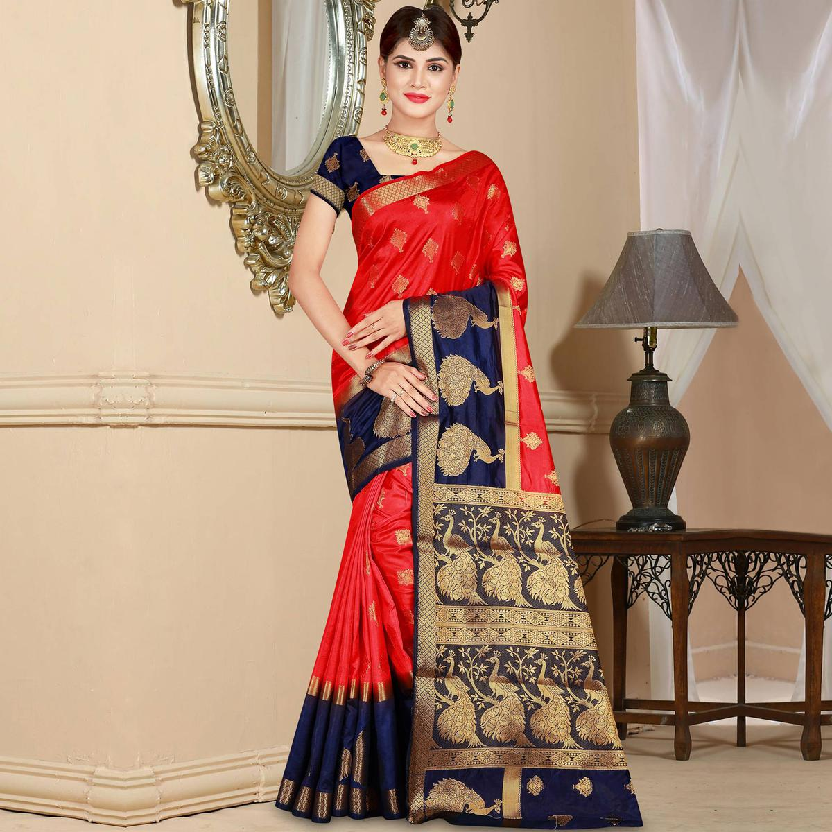 Ravishing Red Colored Festive Wear Woven Art Silk Saree