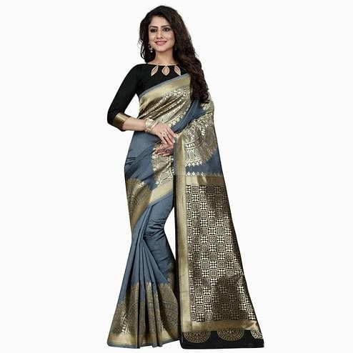 Attractive Grey Colored Festive Wear Woven Banarasi Silk Saree