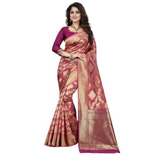 Beautiful Mauve Colored Festive Wear Woven Banarasi Silk Saree