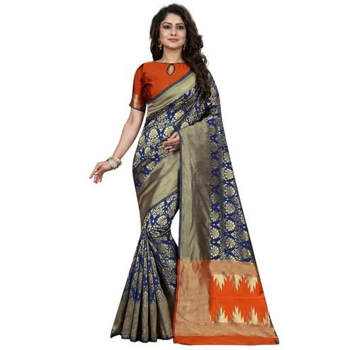 Gorgeous Navy Blue Colored Festive Wear Woven Banarasi Silk Saree