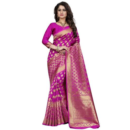Classy Rani Pink Colored Festive Wear Woven Banarasi Silk Saree