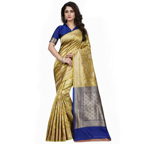 Graceful Olive Green Colored Festive Wear Woven Banarasi Silk Saree
