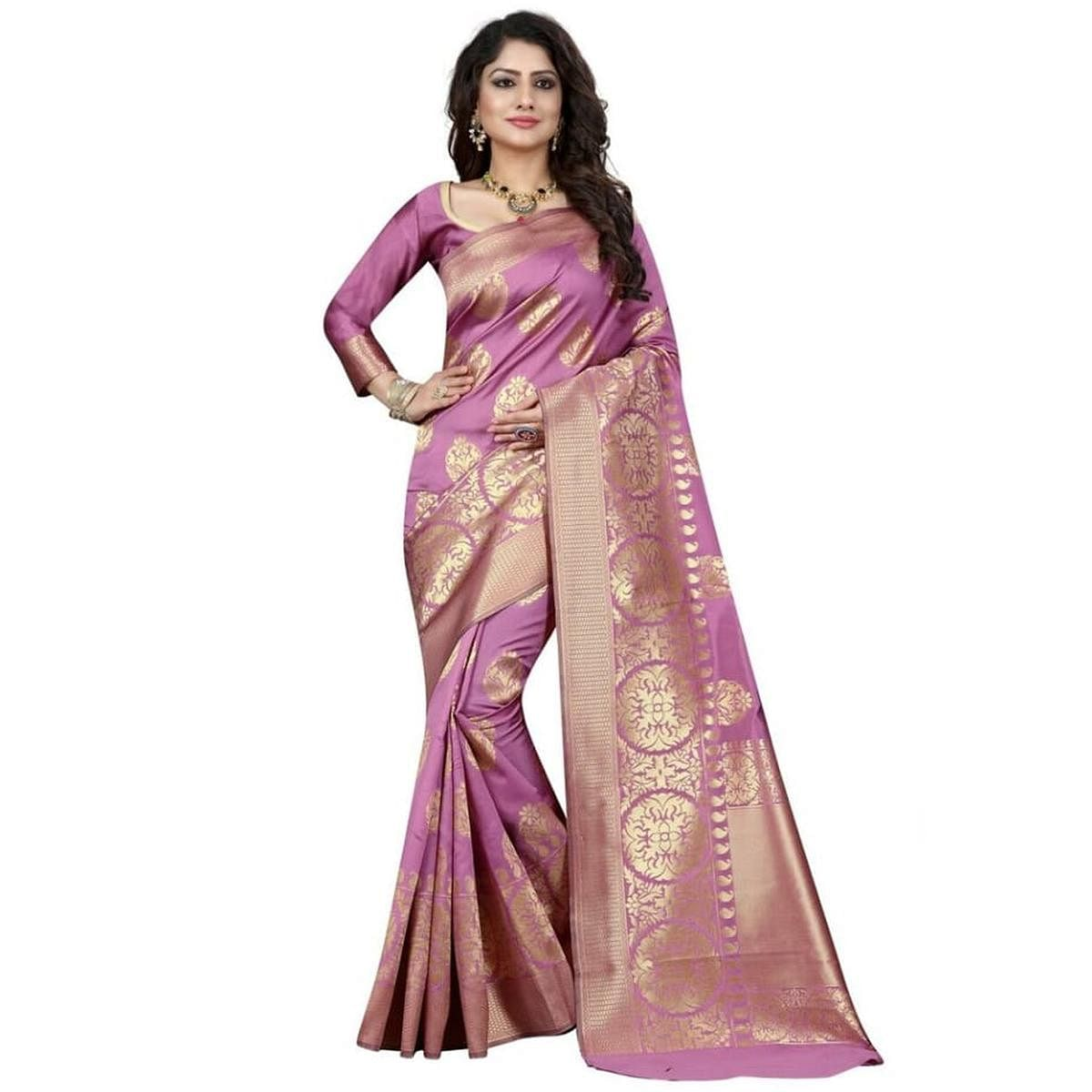Charming Light Violet Colored Festive Wear Woven Banarasi Silk Saree