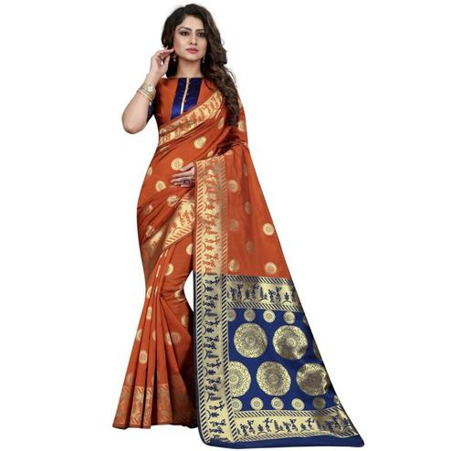 Ravishing Rust Orange Colored Festive Wear Woven Banarasi Silk Saree