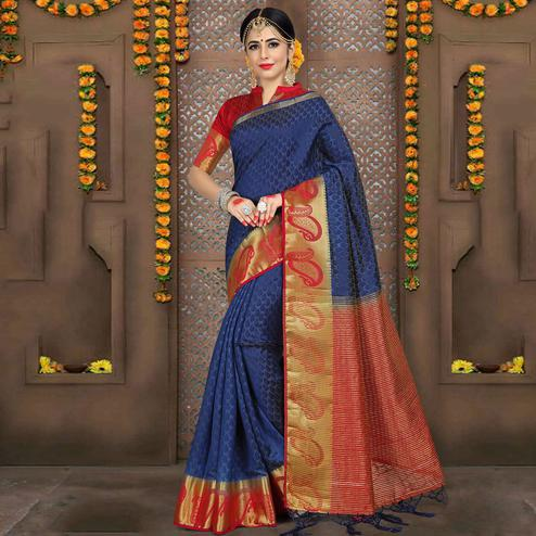 Ravishing Navy Blue Colored Festive Wear Woven Jacquard Saree