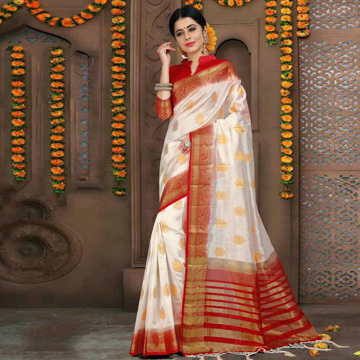 Delightful White Colored Festive Wear Woven Art Silk Saree