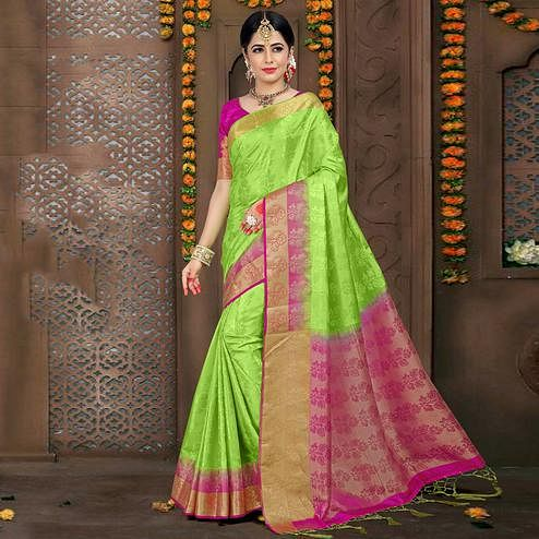 Stunning Light Green Colored Festive Wear Woven Jacquard Saree