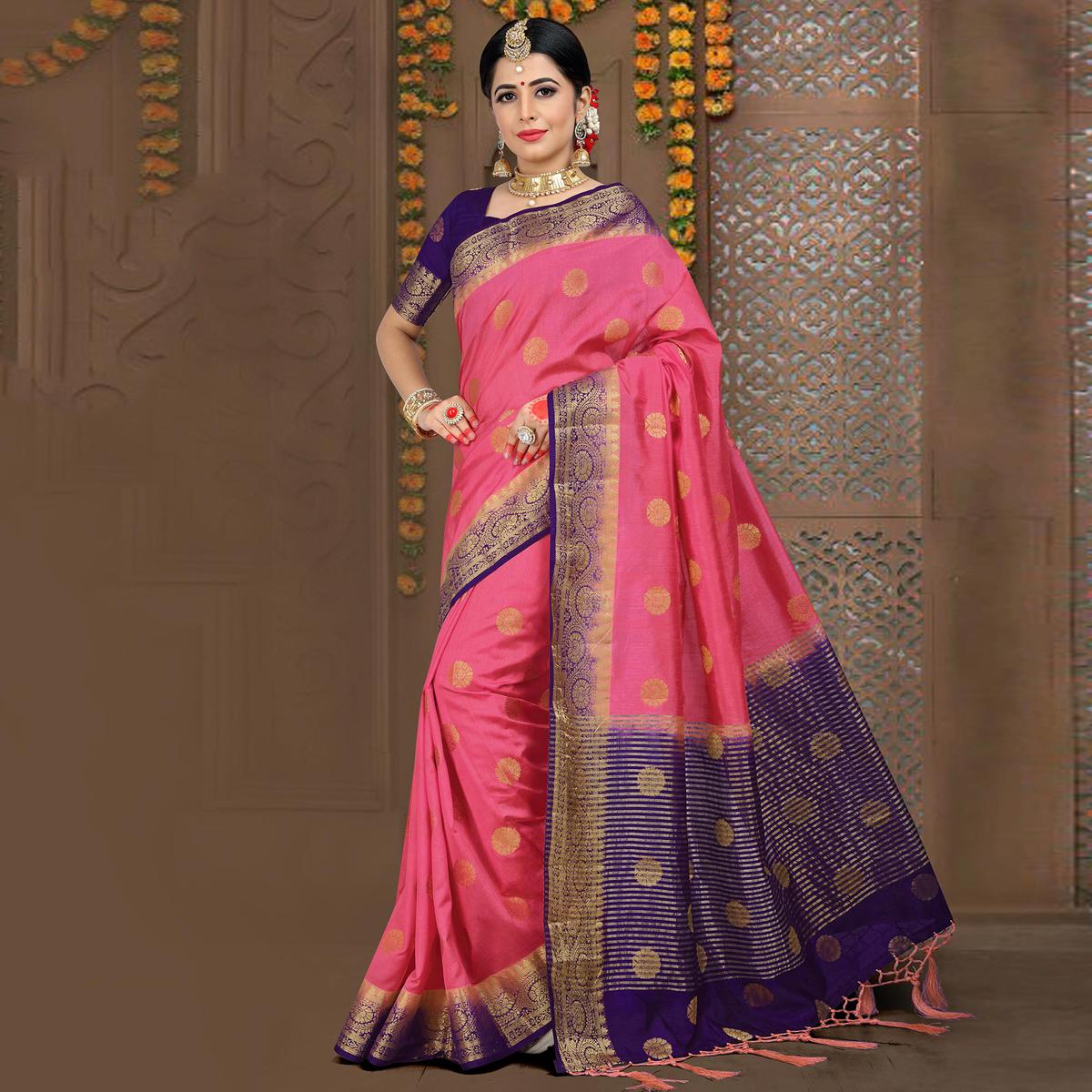 Mesmerising Pink Colored Festive Wear Woven Linen Saree