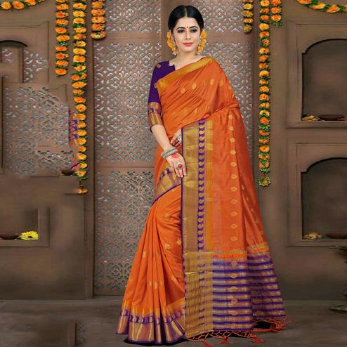 Ravishing Orange Colored Festive Wear Woven Art Silk Saree