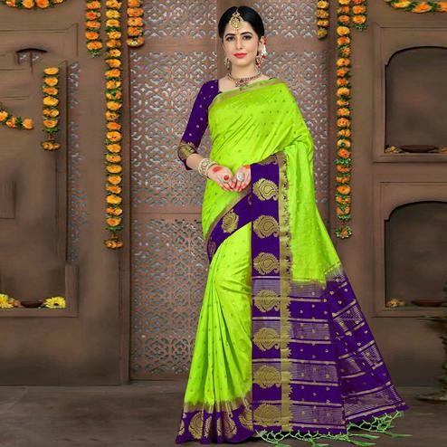Eye-catching Parrot Green Colored Festive Wear Woven Art Silk Saree