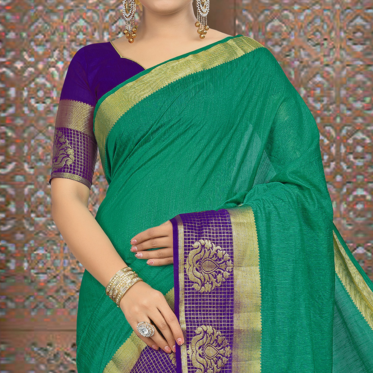 Amazing Turquoise Green Colored Festive Wear Woven Linen Saree