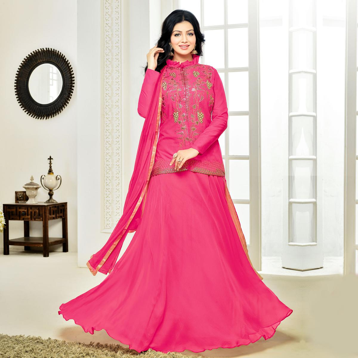 Graceful Pink Cotton Embroidered Lehenga