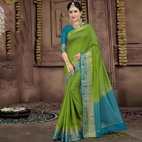 Exotic Green Colored Festive Wear Woven Linen Saree