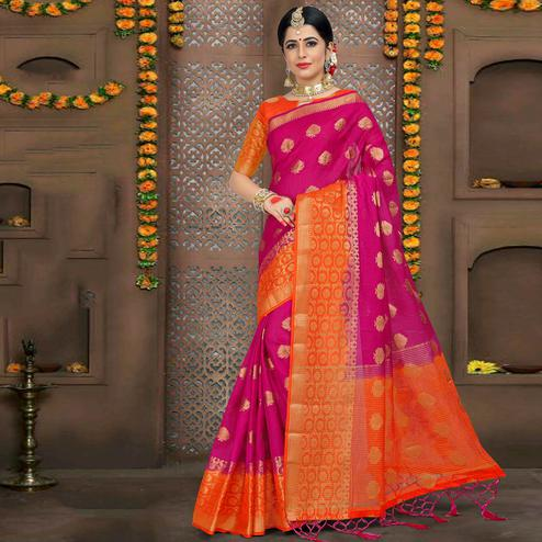 Majesty Rani Pink Colored Festive Wear Woven Linen Saree
