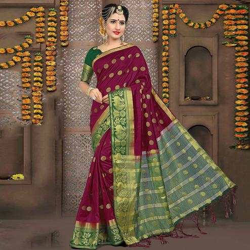 Attractive Magenta Pink Colored Festive Wear Woven Art Silk Saree