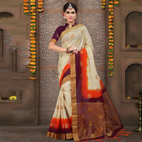 Glorious Off-White Colored Festive Wear Woven Linen Saree
