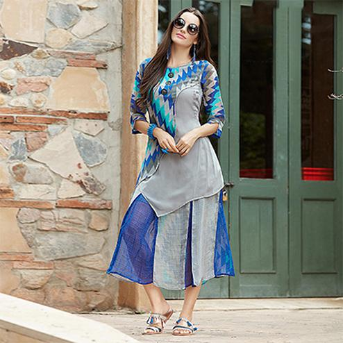 Cool Blue-Gray Designer Printed Georgette Kurti