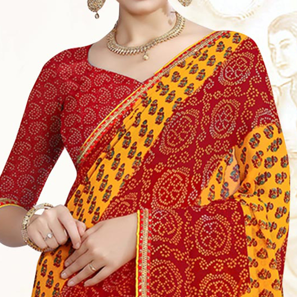 Eye-Catching Red-Yellow Colored Casual Printed Georgette Saree