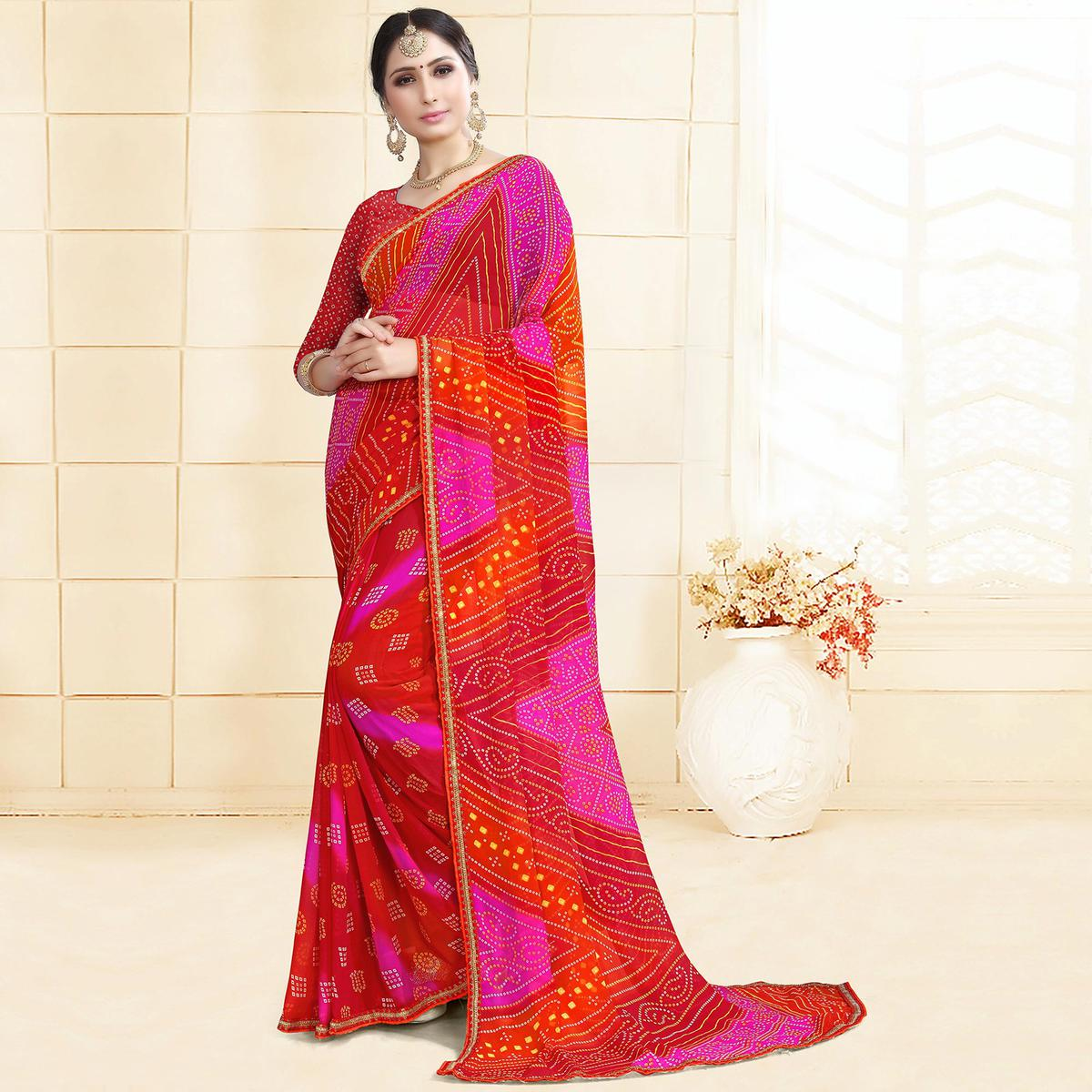 Beautiful Red-Pink Colored Casual Printed Georgette Saree
