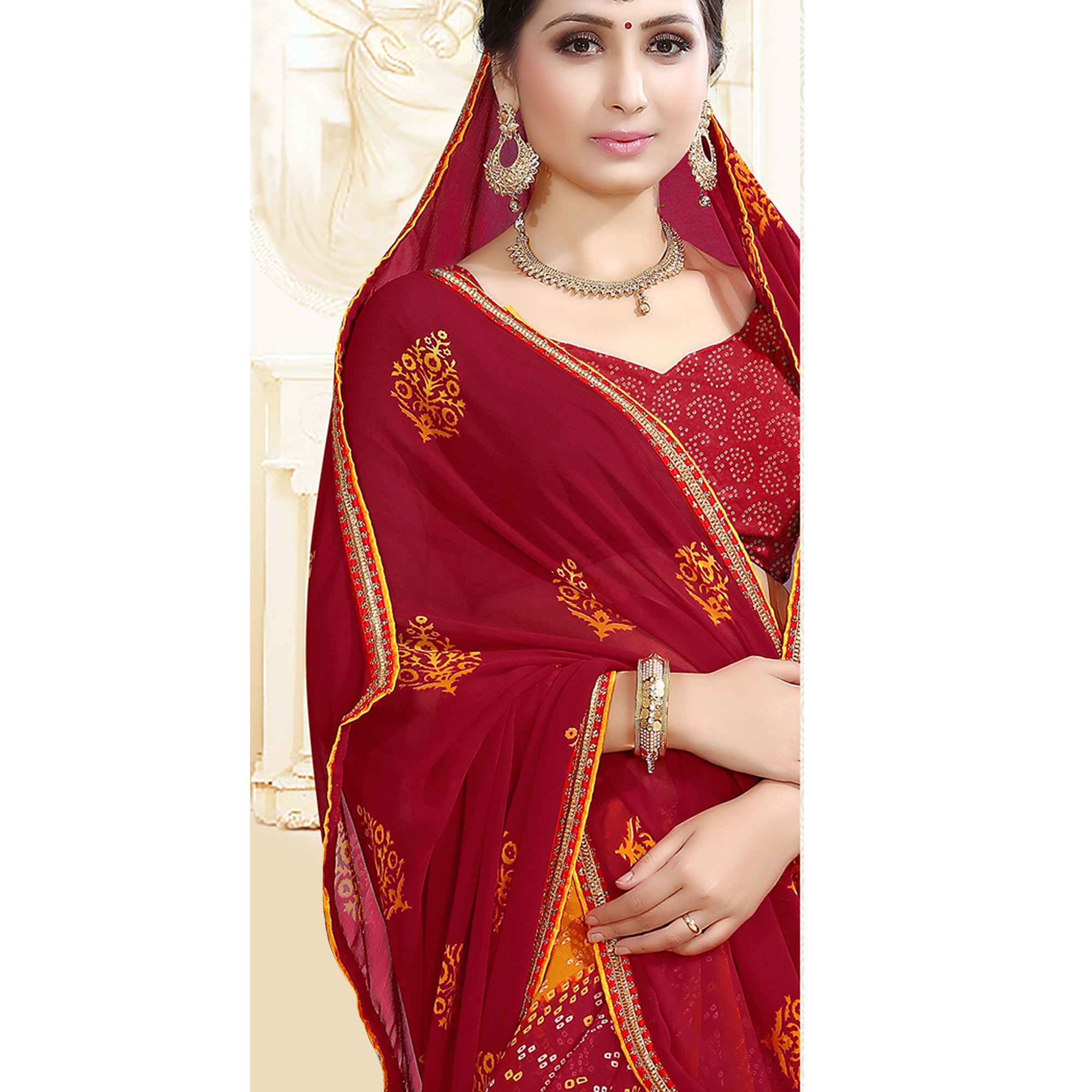 Desirable Red Colored Casual Printed Georgette Half-Half Saree