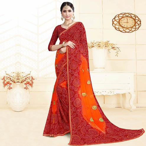 Blooming Red Colored Casual Printed Georgette Saree