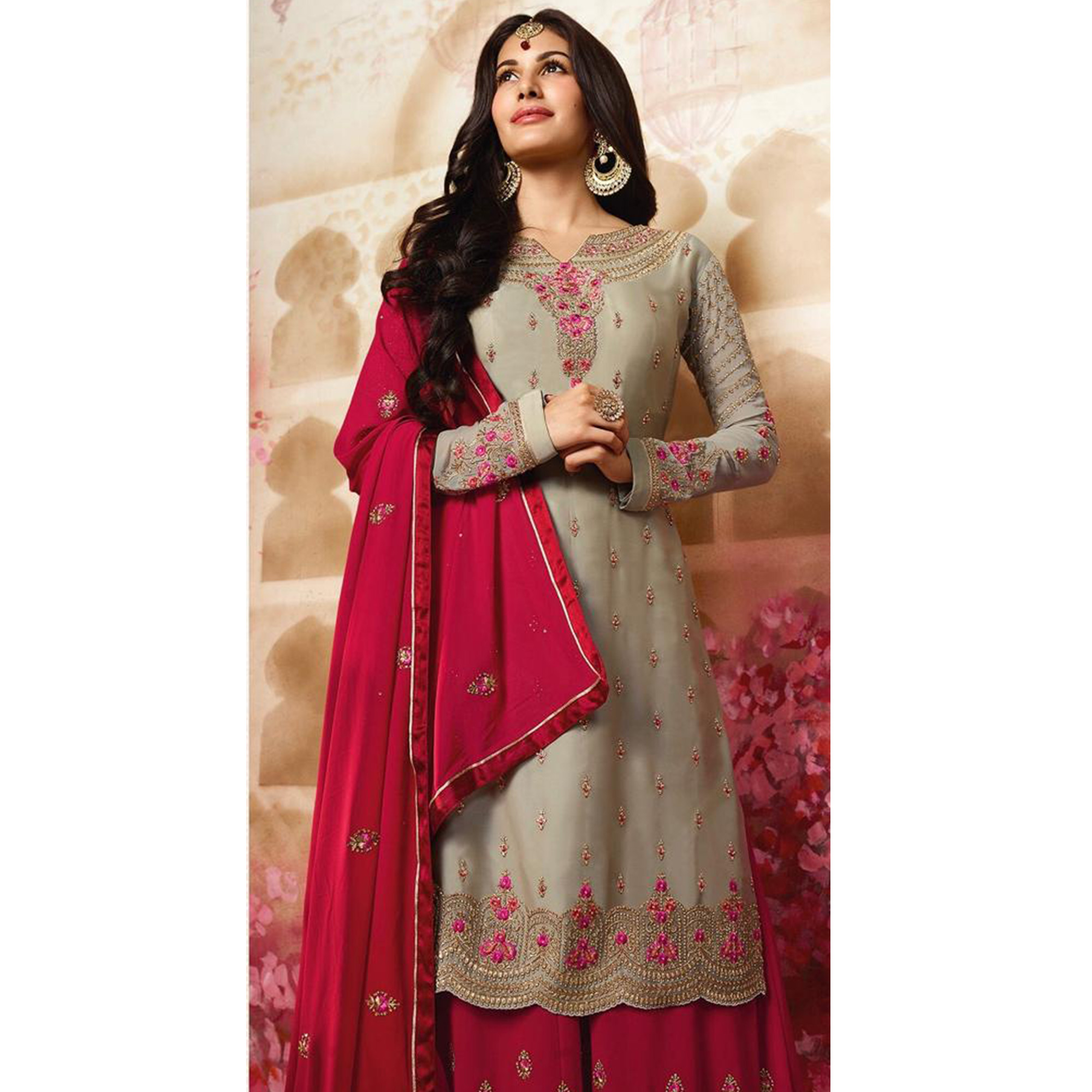 Sensational Light Grey Colored Party Wear Embroidered Satin Georgette Palazzo Suit