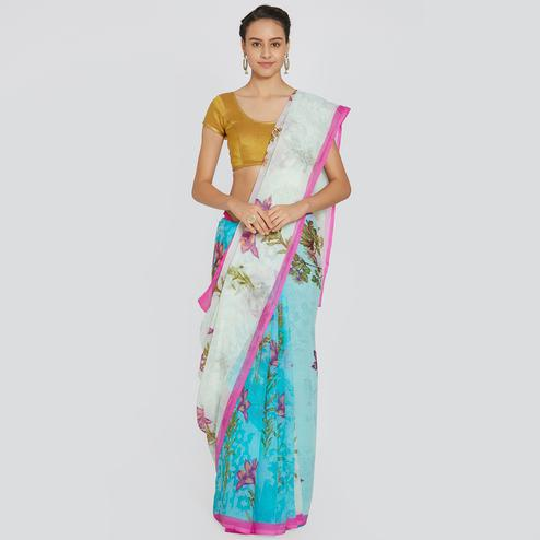 Gorgeous Sky Blue Colored Casual Printed Chiffon Saree