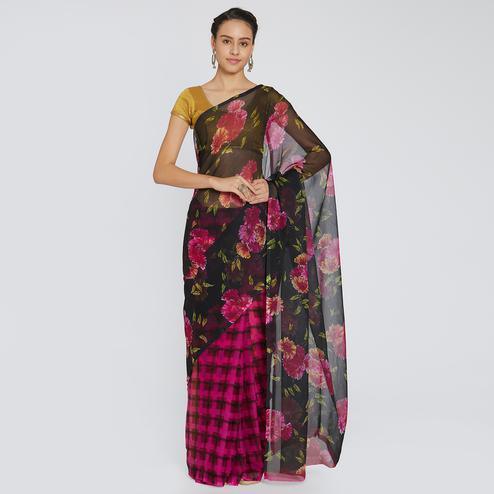 Graceful Black-Pink Colored Casual Printed Chiffon Saree