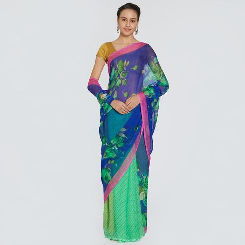 Lovely Blue-Green Colored Casual Printed Chiffon Saree