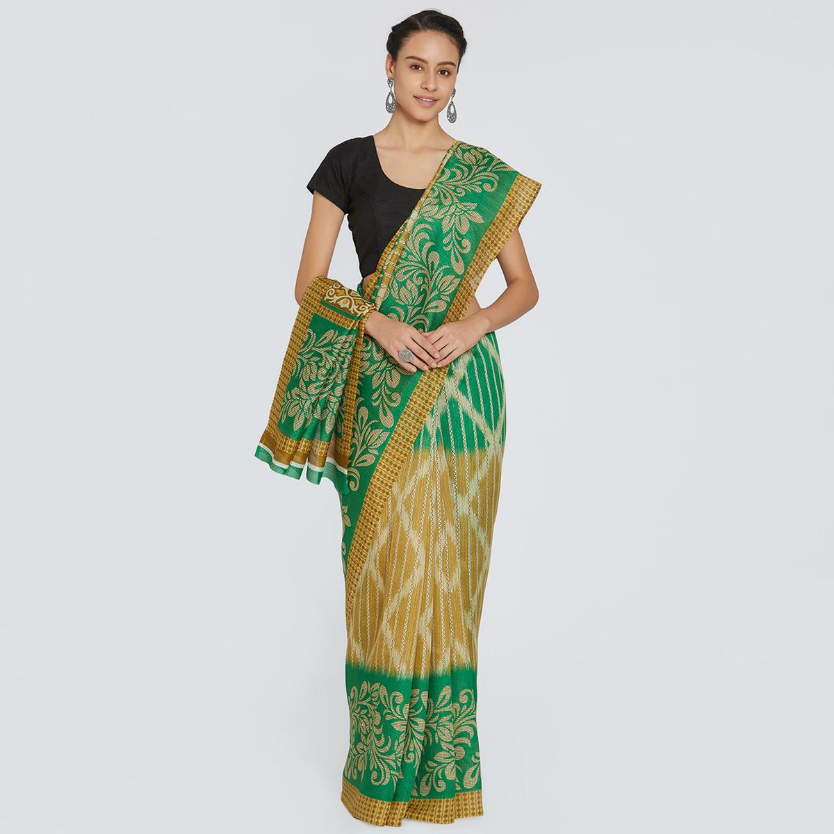 Charming Green-Beige Colored Casual Printed Bhagalpuri Silk Saree