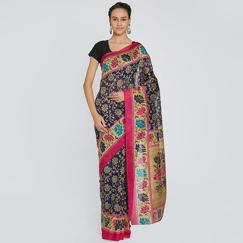Ravishing Navy Blue Colored Casual Printed Bhagalpuri Silk Saree