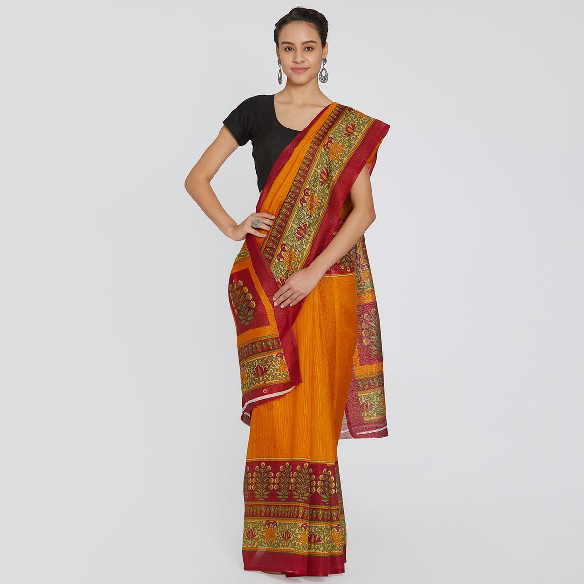 Delightful Orange Colored Casual Printed Bhagalpuri Silk Saree