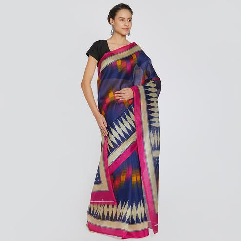 Classy Navy Blue Colored Casual Printed Bhagalpuri Silk Saree