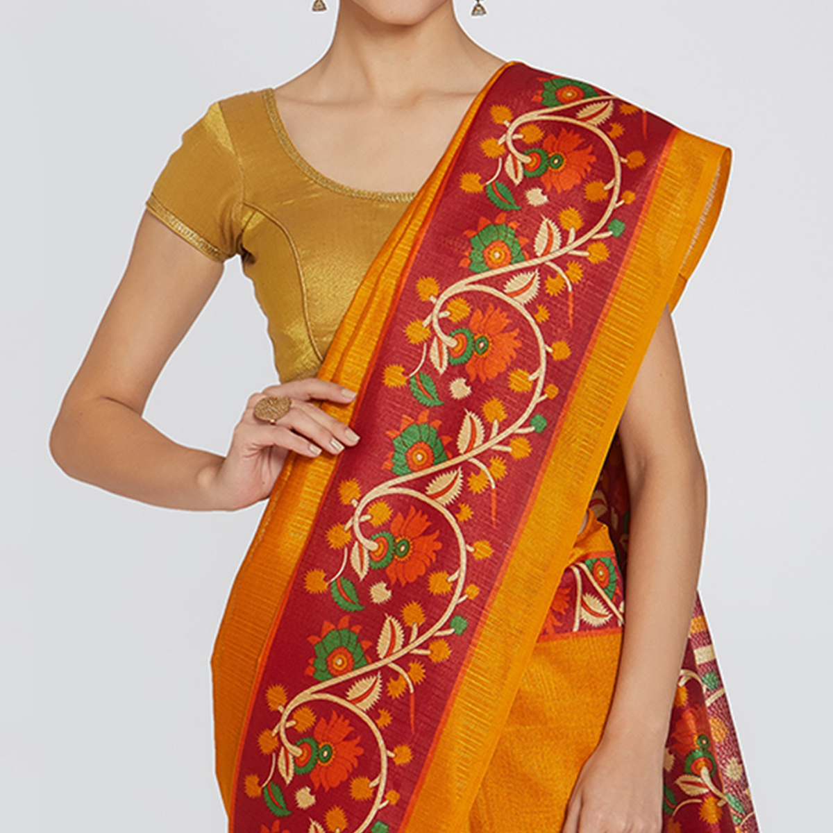 Glorious Orange Colored Casual Printed Bhagalpuri Silk Saree