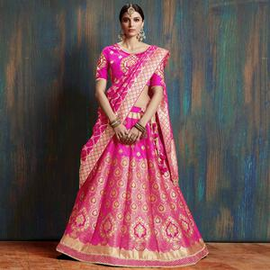 Marvellous Deep Pink Colored Wedding Wear Embroidered Pure Banarasi Silk Lehenga Choli
