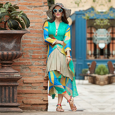 Trendy Green-Blue Designer Printed Georgette Kurti