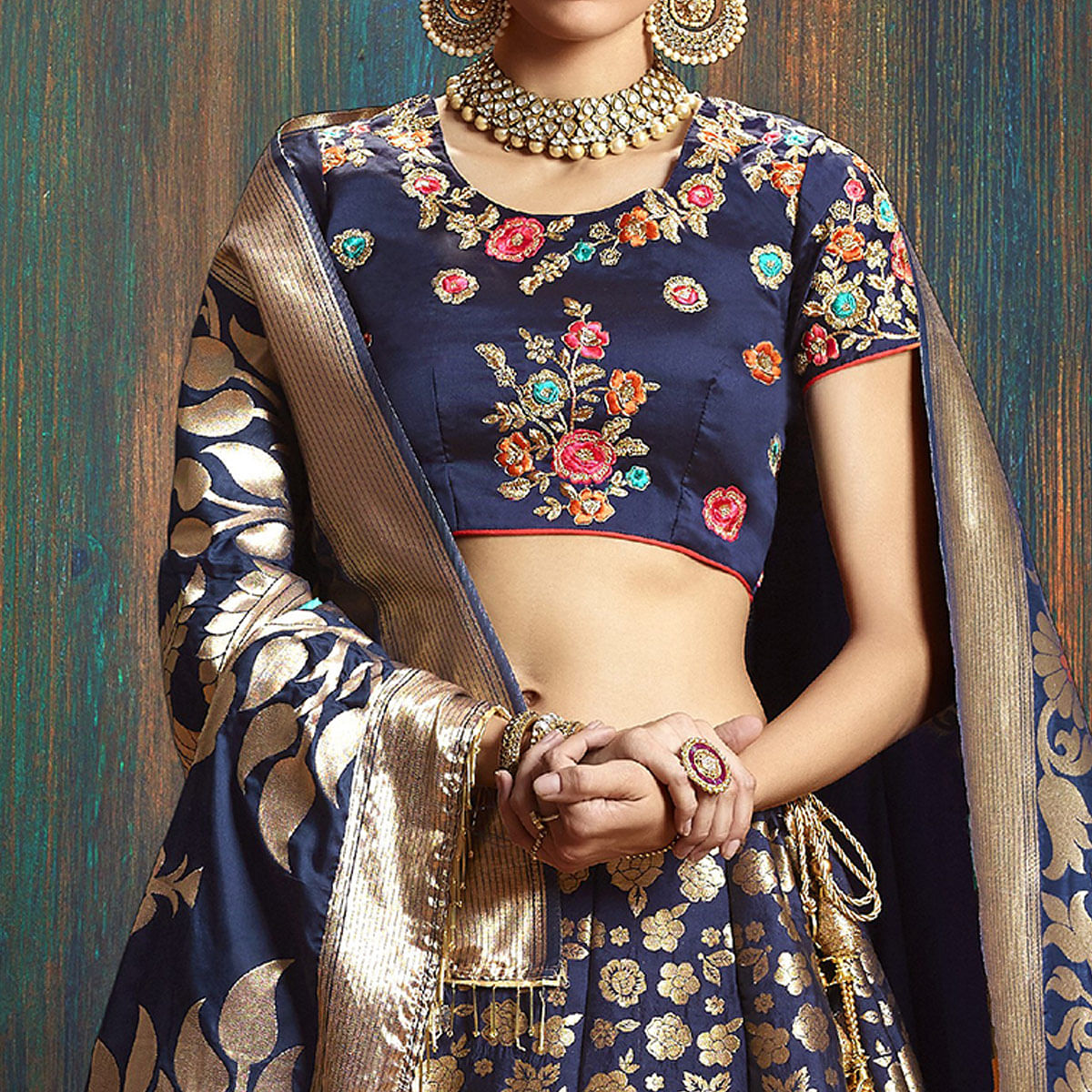 Mesmerising Navy Blue Colored Wedding Wear Embroidered Pure Banarasi Silk Lehenga Choli