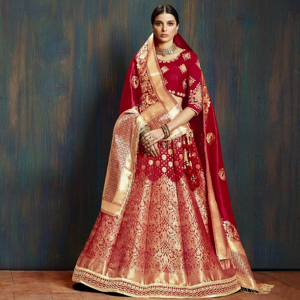Amazing Maroon Colored Wedding Wear Embroidered Pure Banarasi Silk Lehenga Choli