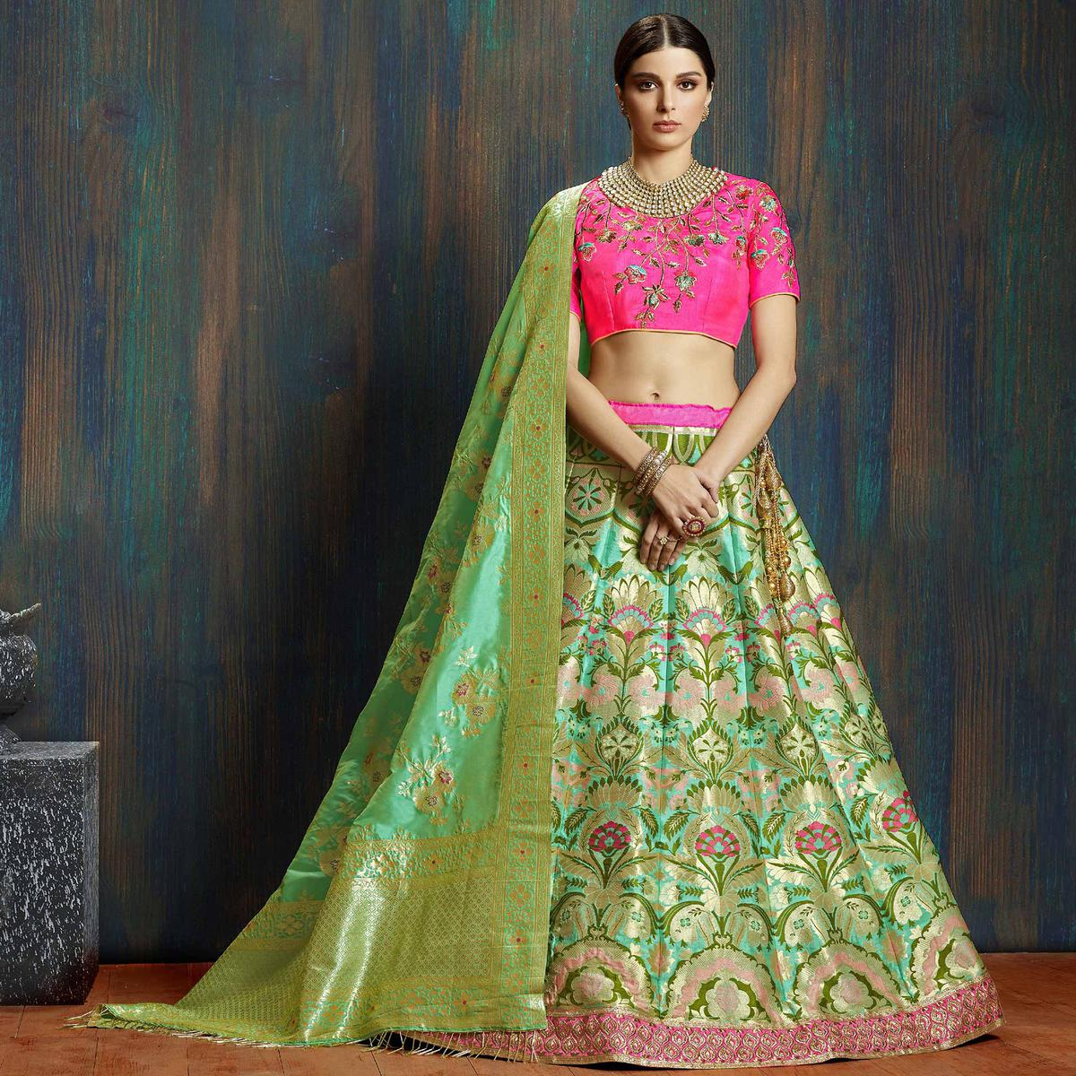 Exotic Green Colored Wedding Wear Embroidered Pure Banarasi Silk Lehenga Choli