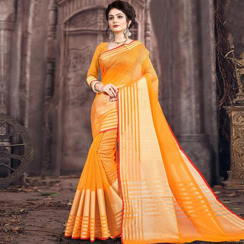 Elegant Yellow Colored Festive Wear Woven Poly Cotton Saree