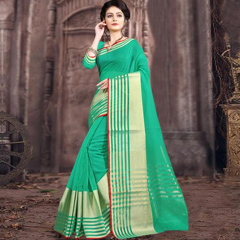 Beautiful Turquoise Green Colored Festive Wear Woven Poly Cotton Saree