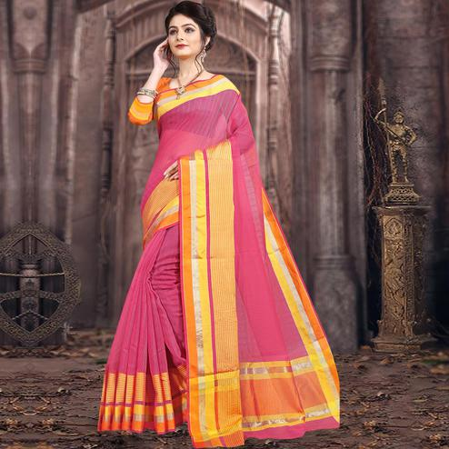 Attractive Pink Colored Festive Wear Woven Poly Cotton Saree