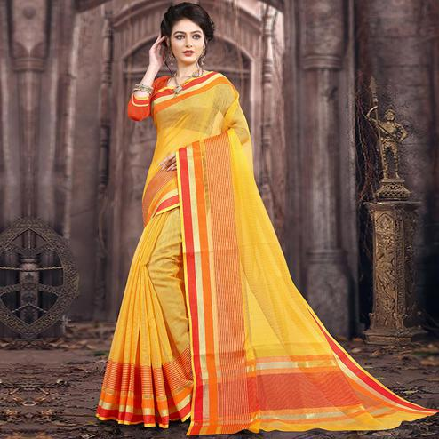 Glowing Yellow Colored Festive Wear Woven Poly Cotton Saree