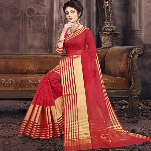 Gleaming Red Colored Festive Wear Woven Poly Cotton Saree
