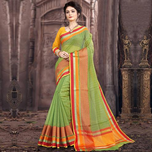 Refreshing Green Colored Festive Wear Woven Poly Cotton Saree
