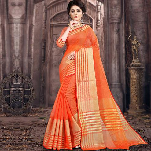 Sophisticated Orange Colored Festive Wear Woven Poly Cotton Saree