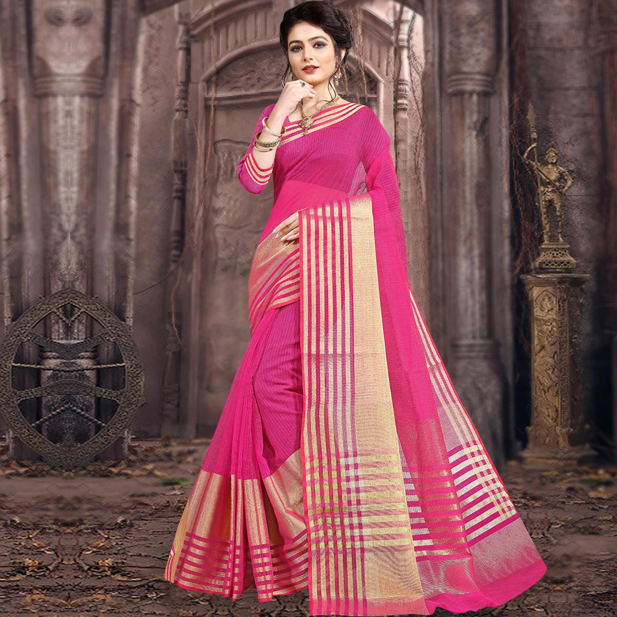 Desirable Dark Pink Colored Festive Wear Woven Poly Cotton Saree
