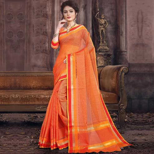 Demanding Orange Colored Festive Wear Woven Poly Cotton Saree