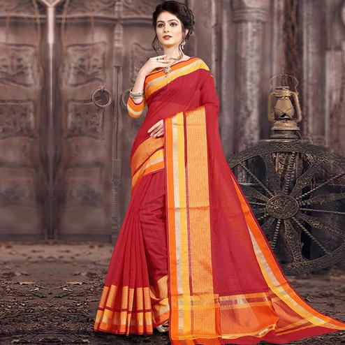Staring Red Colored Festive Wear Woven Poly Cotton Saree