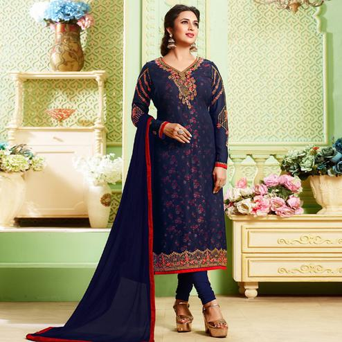 Amazing Navy Blue Colored Party Wear Embroidered Georgette Suit